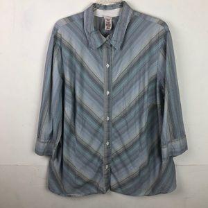Covington Striped Shirt Button Up 3/4 Sleeve